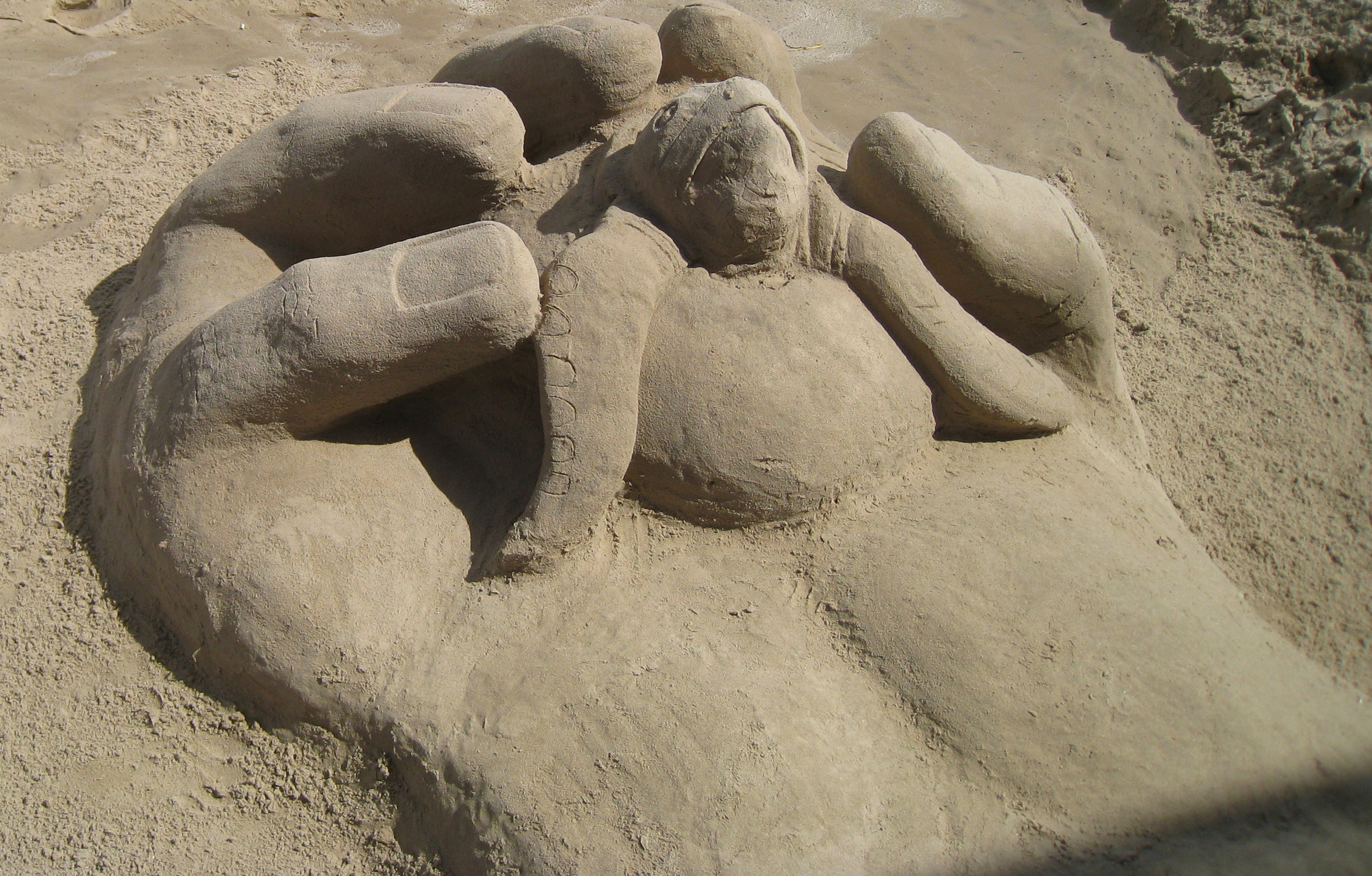 Lucy with a crew of volunteers created a magnificent sand sculpute to celebrate the annual hatchling release