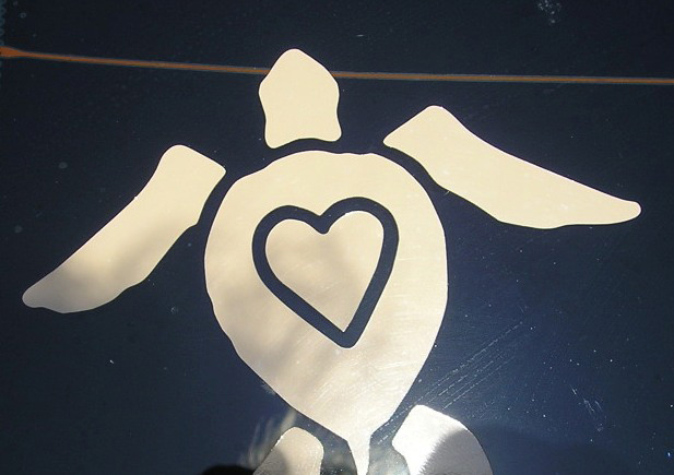 Closeup of custom decal which MotoCutz makes for the Turtle Lady Legacy