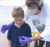 Mary Ann Tous shows Nate a sea turtle hatchling in July of 2008